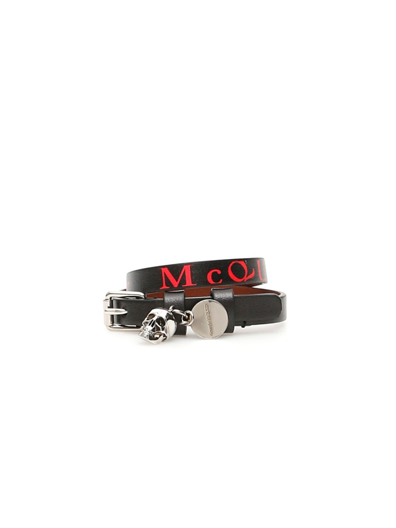 Alexander McQueen Wrap Bracelet - BLACK LUST RED (Black)