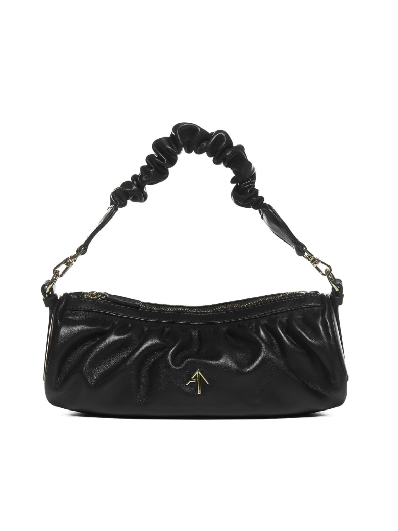 MANU Atelier Ruched Cylinder Leather Bag - Black