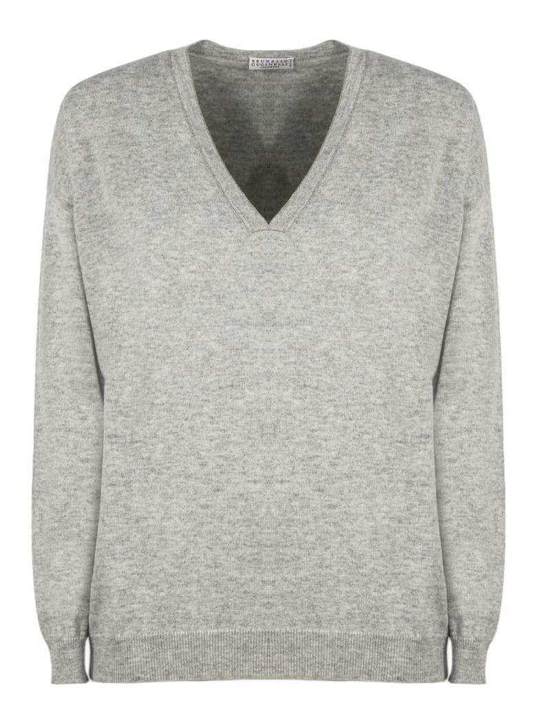 Brunello Cucinelli Grey Cashmere Sweater - Grigio