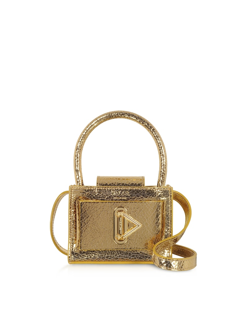 Best price on the market at italist | Salar Salar Loulou Crackle Gold Leather Top Handle Bag