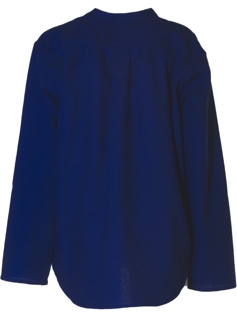 Sofie d'Hoore Long Slv Top With Stand Up Collar - Blue Bic