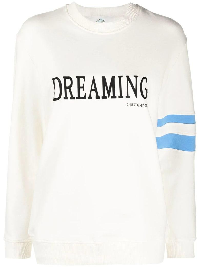 Alberta Ferretti White Stretch-cotton Sweatshirt - Panna