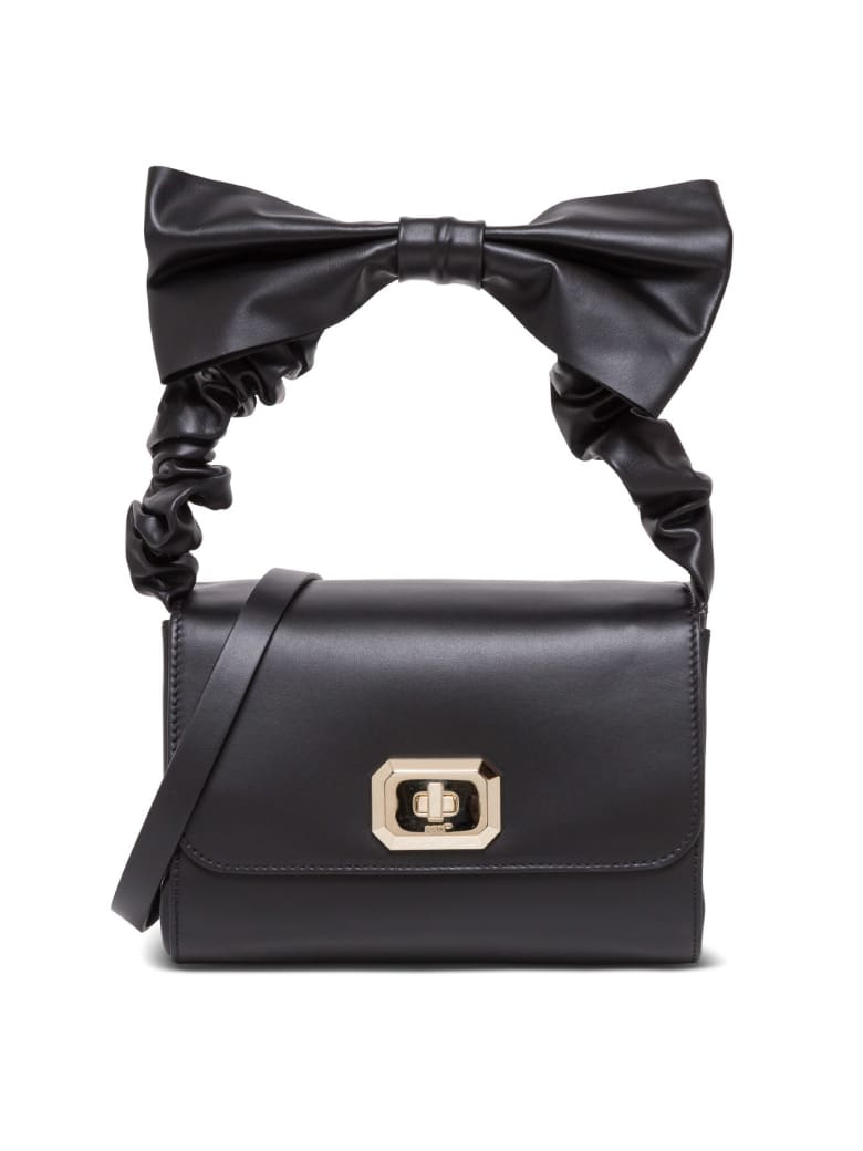 RED Valentino Black Leather Handbag With Bow - Black