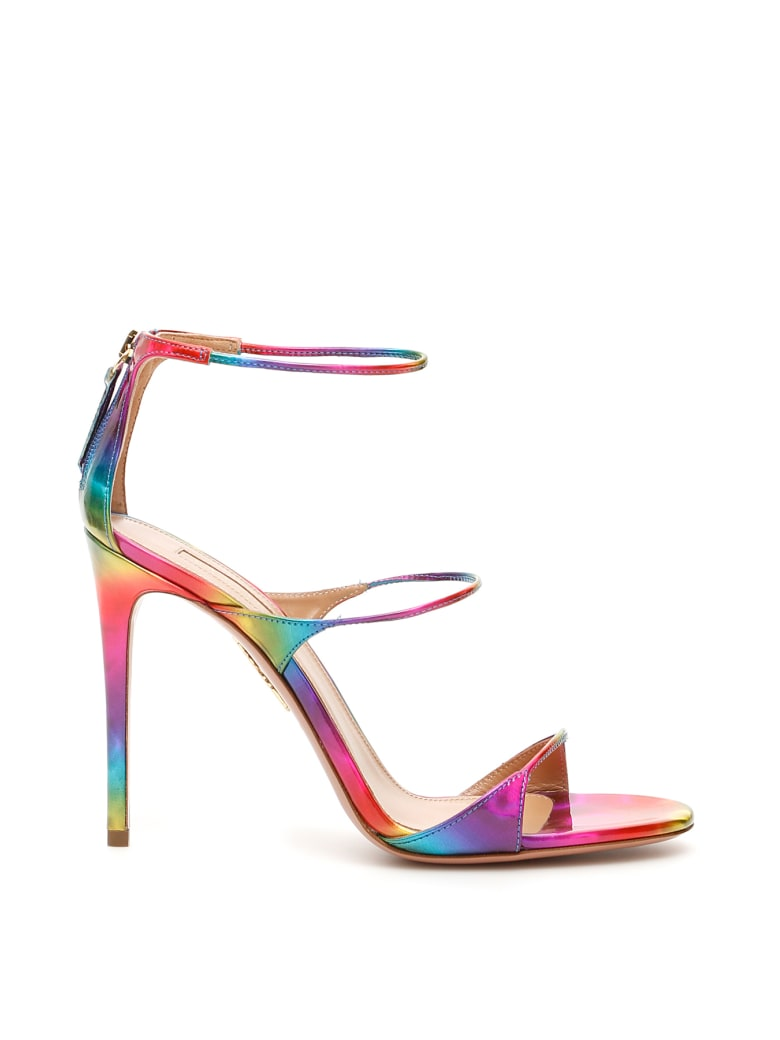 Aquazzura Disco Rainbow Minute 105 Sandals - MULTICOLOR (Red)