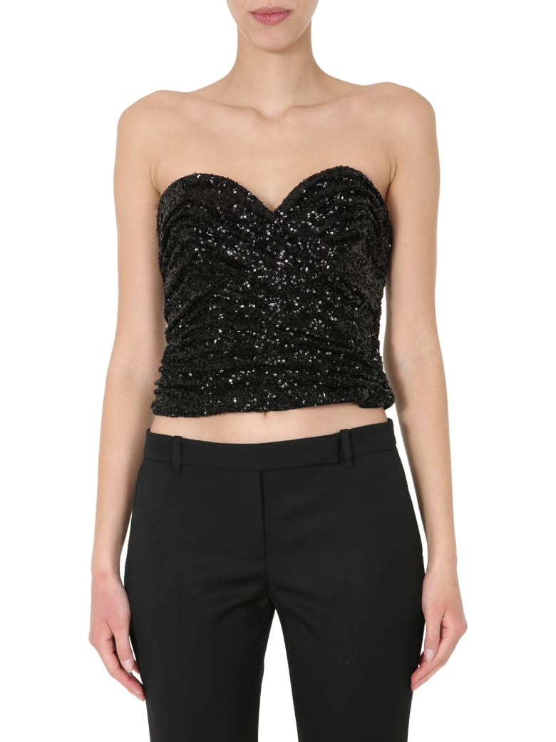 Saint Laurent Embroidered Bustier - NERO