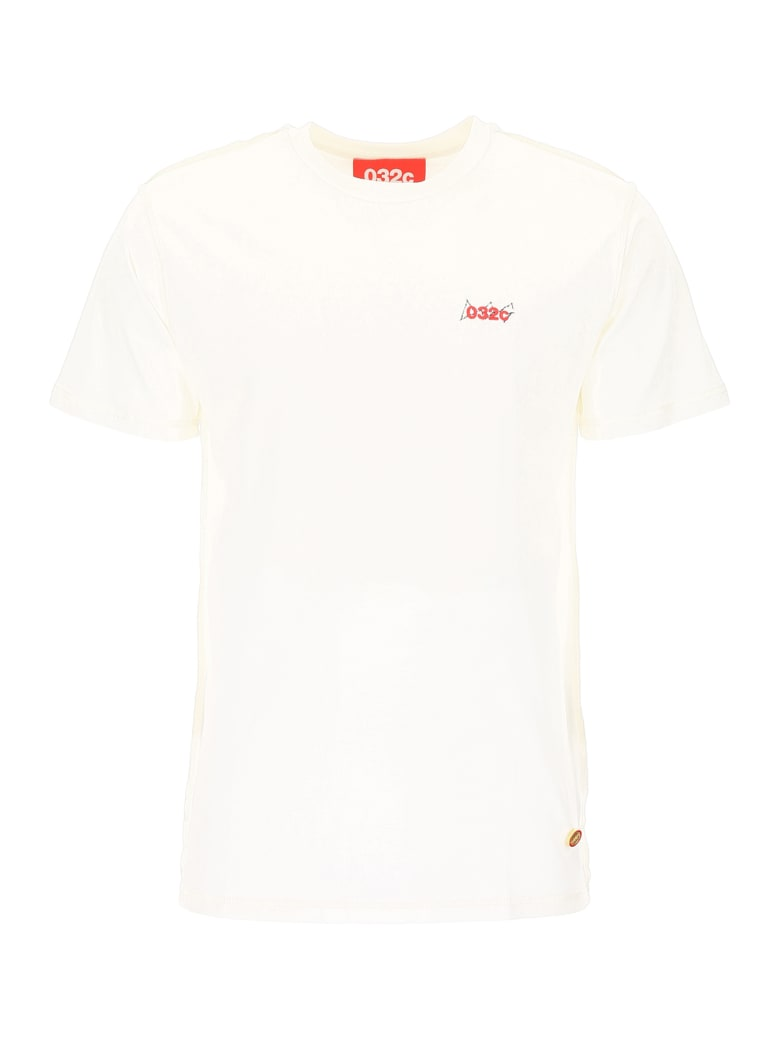 032c T-shirt With Print And Embroidery - WHITE (White)