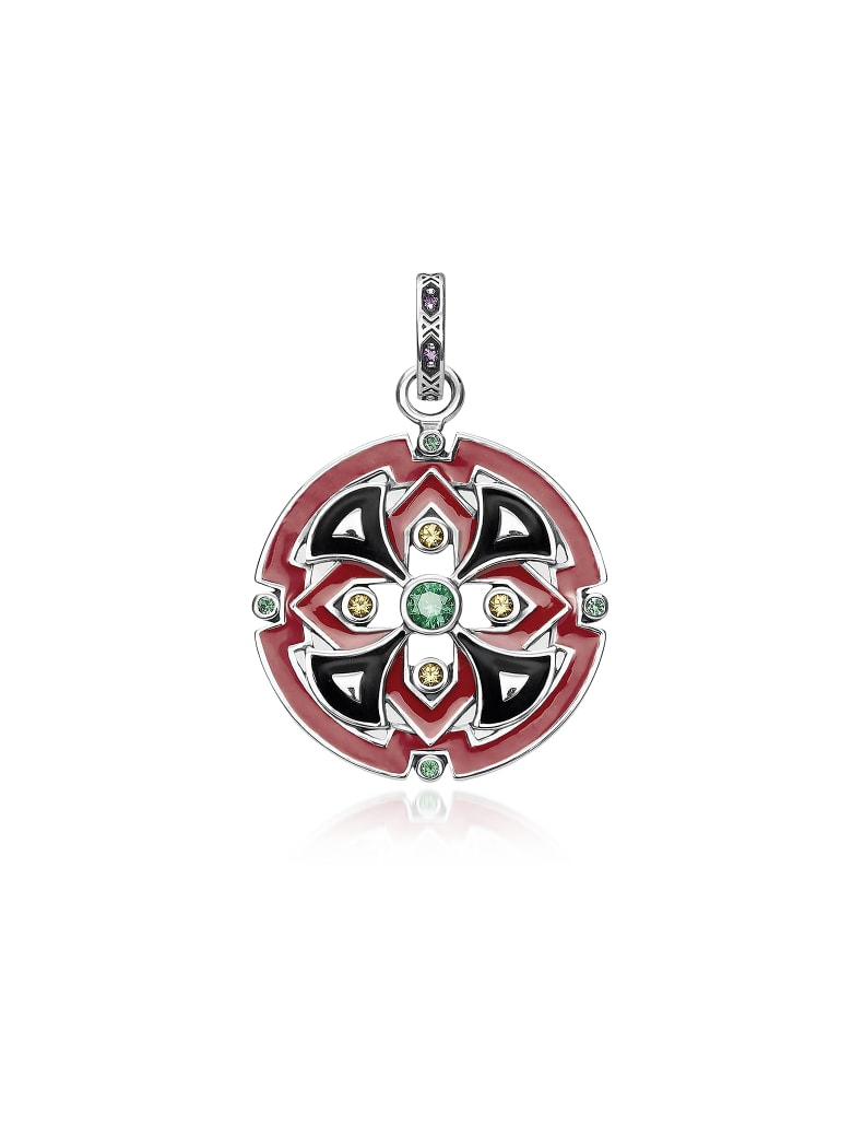 Thomas Sabo Blackened Sterling Silver Glass-ceramic Stone And Synthetic Corundum Round Pendant - Silver