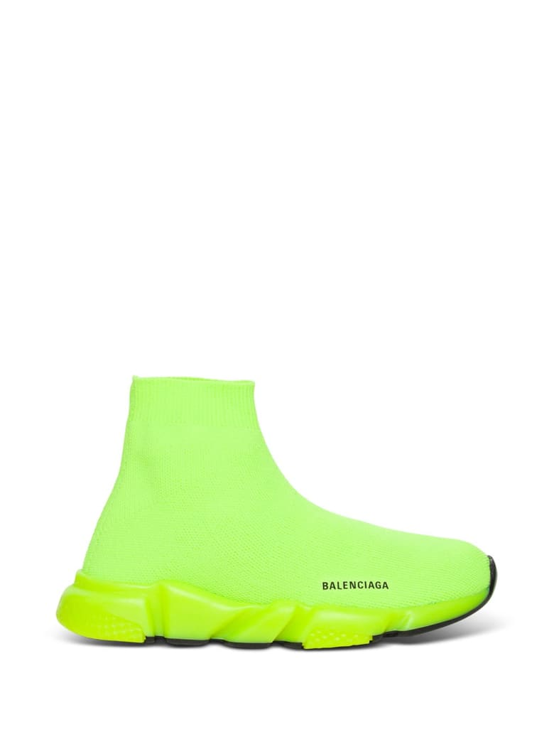 Balenciaga Speed Snekaers In Neon Yellow Knitted Stretch - Yellow