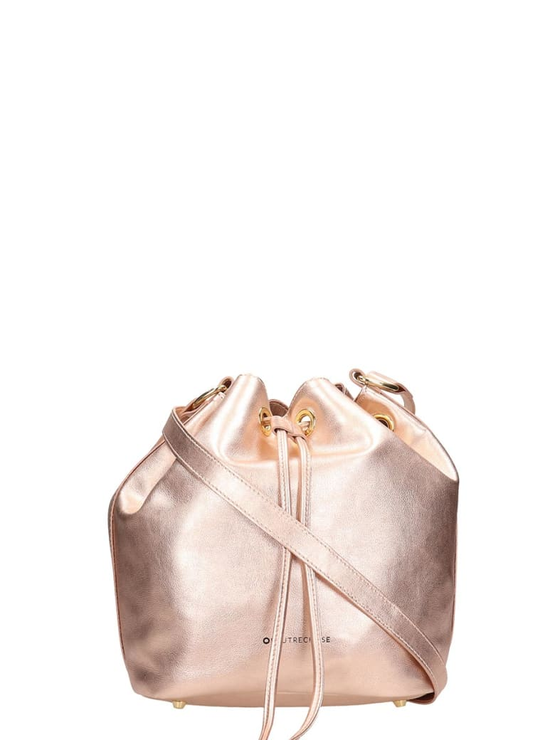 L'Autre Chose Pink Laminated Bag In Black Leather - powder
