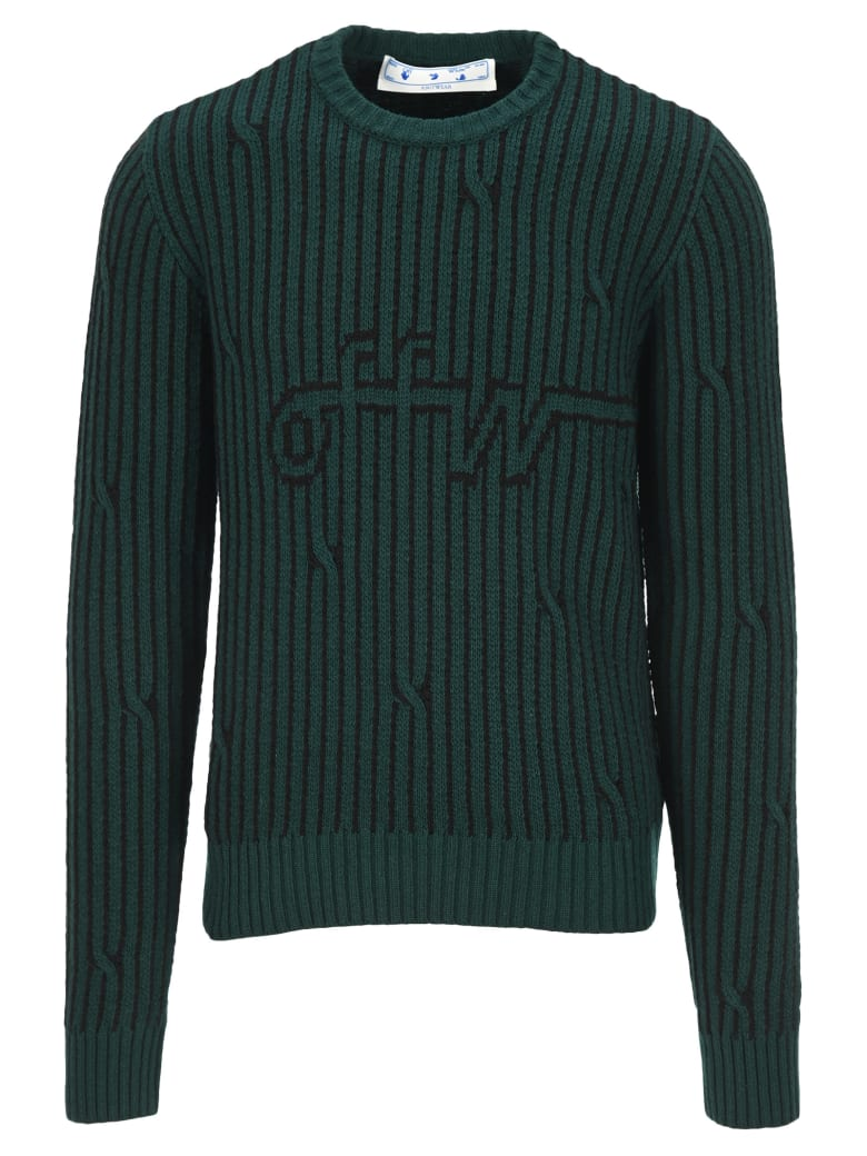 Off-White Off White Cables Sweater - Darkgreen