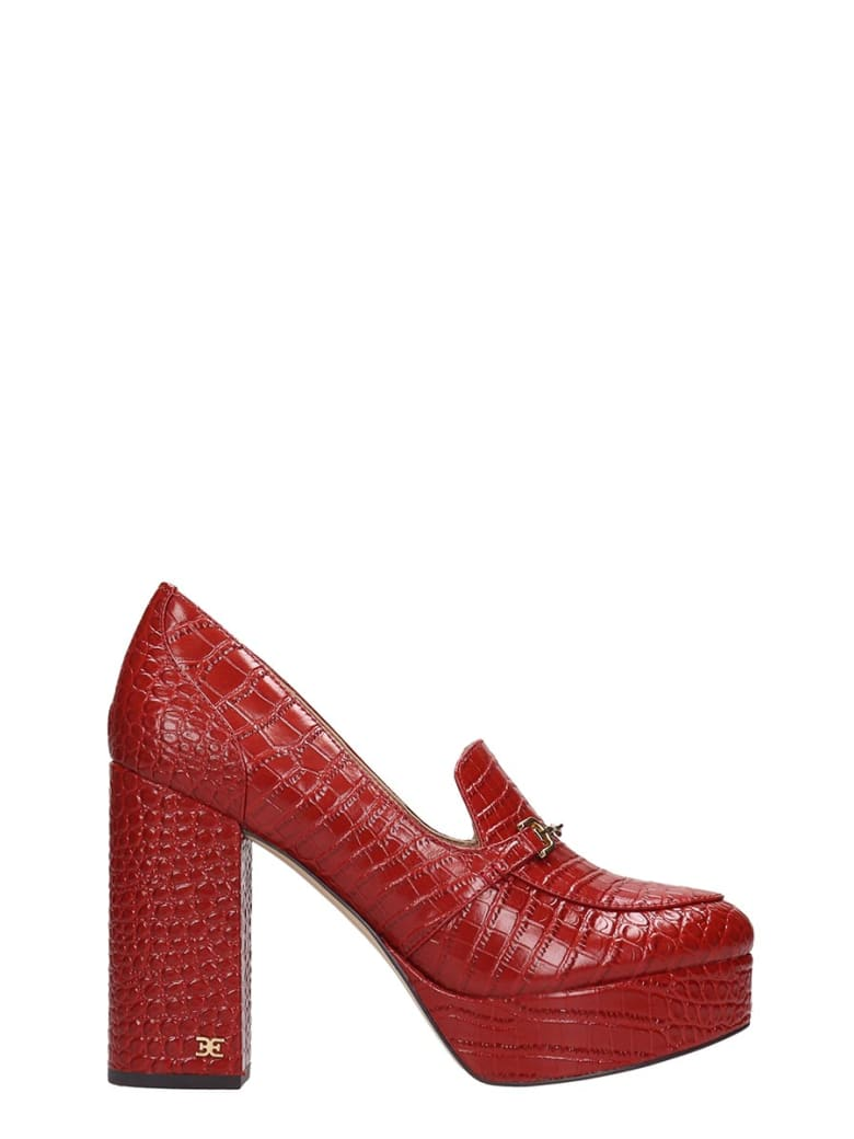 Sam Edelman Aretha Pumps In Red Leather - red