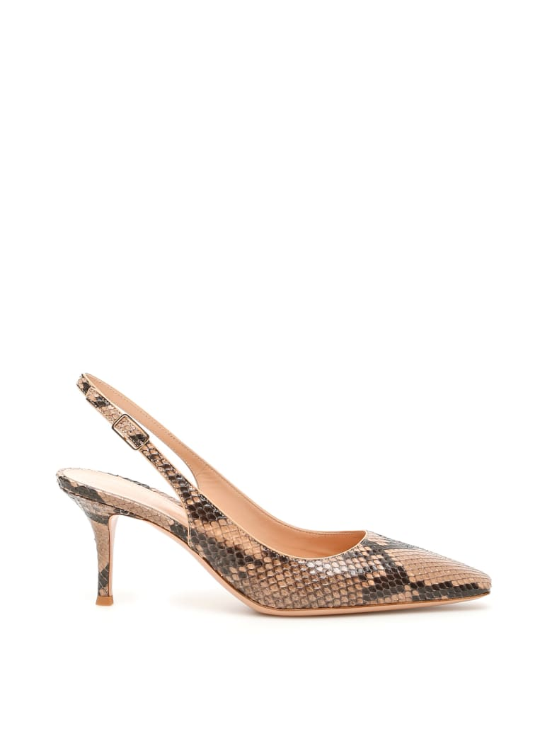 Gianvito Rossi Exotic Esther Python Slingbacks - NUDE NUDE (Beige)