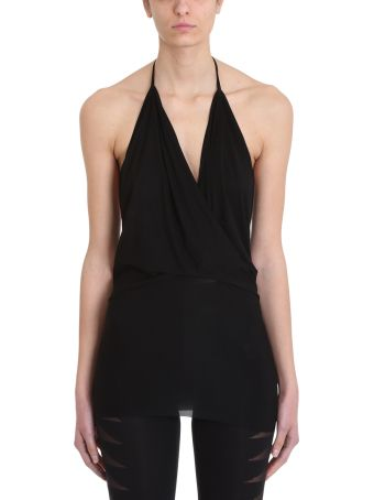 Rick Owens Lilies Wrap Draped Black Viscose Top