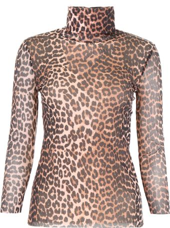 Ganni Leopard-printed Blouse
