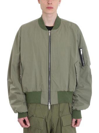 Ben Taverniti Unravel Project Bomber Oversized Green Cotton Jacket