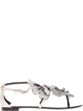 Lola Cruz Plana White Leather Flops