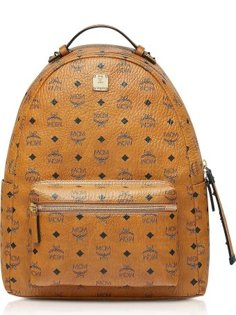 MCM Cognac Visetos Stark Backpack