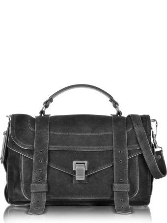 Proenza Schouler Ps1 Medium Black Suede Satchel Bag