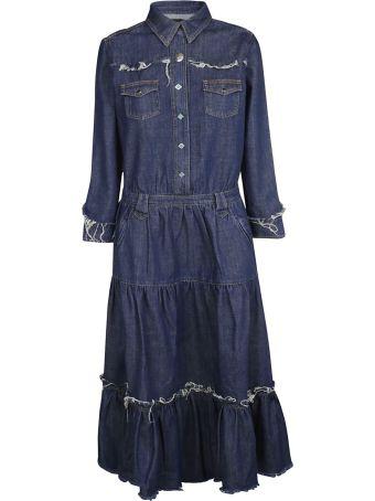 Alanui Frayed Denim Maxi Dress
