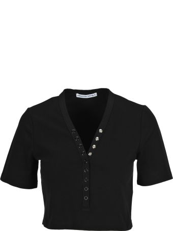 T by Alexander Wang Compact Jersey Snaps S/s Top