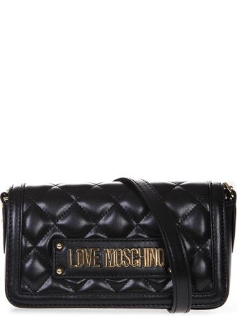Love Moschino Shoulder Bag In Black Quilted Faux Leather