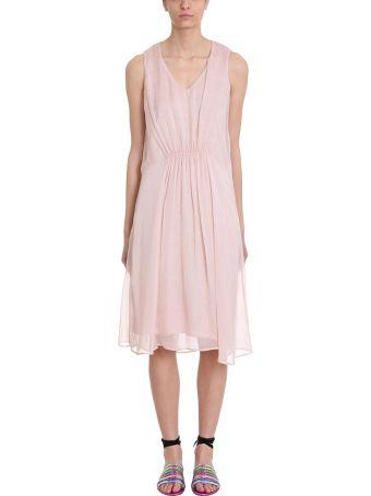 120% Lino Pink Draped Cotton And Linen Dress