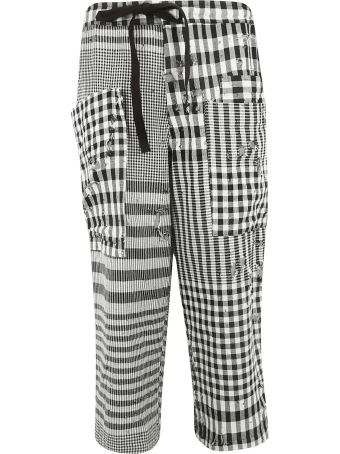 Y's Checked Patch Print Trousers