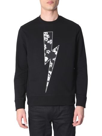 Neil Barrett Flower Bolt Printed Sweatshirt