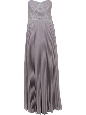 Marchesa Strpless Pleated Lame Dress