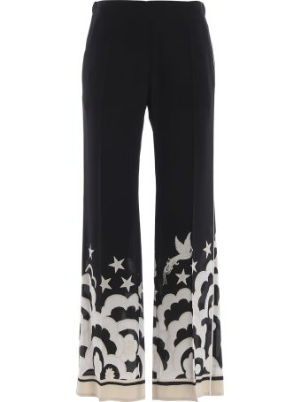 Valentino Contrast Print Wide Leg Trousers
