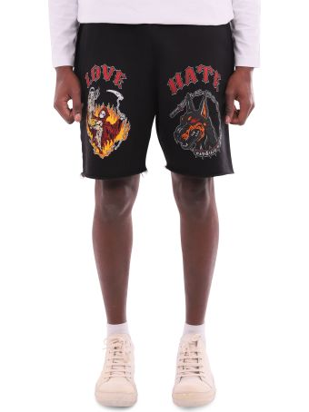 Warren Lotas Black Graphic Raw Sweatshorts