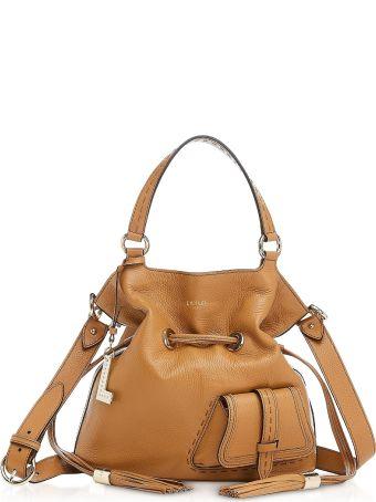 Lancel Premiere Medium Camel Leather Bucket Bag