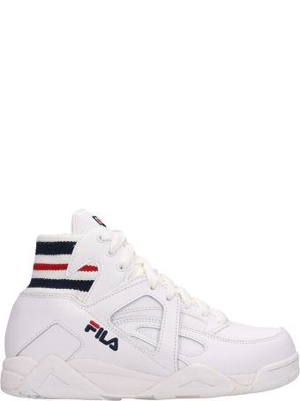 Fila Wmns Cage Mid White Leather Sneakers