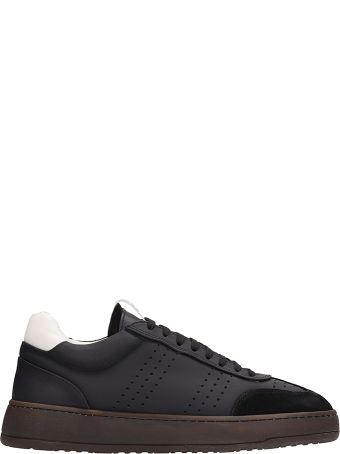 Etq Black Leather And Suede Sneakers
