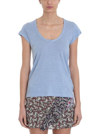 Isabel Marant Étoile Zankya T-shirt Light Blue Linen Cotton