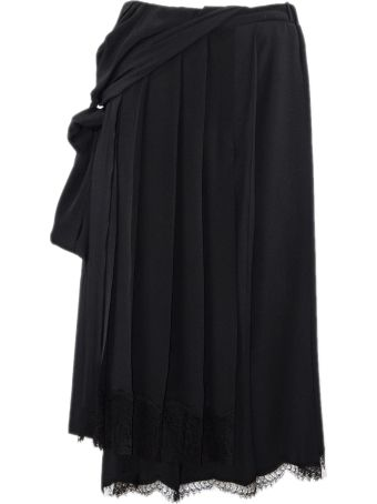 N.21 Black Asymmetric Pleated Skirt