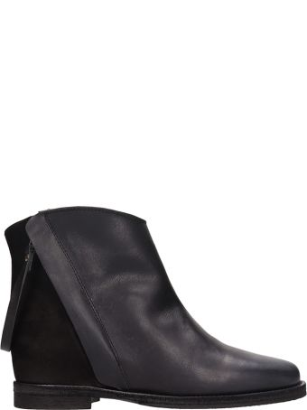 Via Roma 15 Black Suede And Leather Ankle Boots