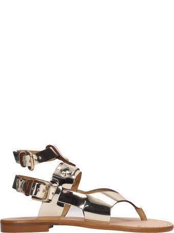 Sarah Summer Platinum Leather Flat Sandals