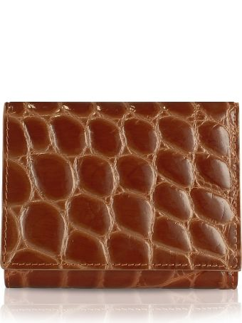 Fedon 1919 Giorgio Fedon 1919 Spiga - Women's Brown Croc Stamped Calfskin Small Wallet