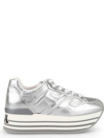 Hogan Stay Cool Metallic Leather Maxi Sole Sneakers Hxw4250t548ik1b200