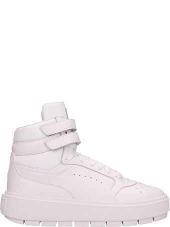 Puma White Leather Platform Trace Sneakers
