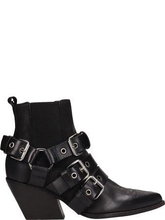 Elena Iachi Black Leather Tex Ankle Boots