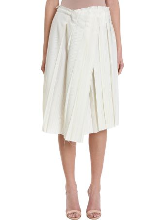Maison Flaneur Asymmetric White Wool Skirt