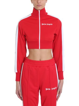 Palm Angels Cropped Track Red Sweatshirt