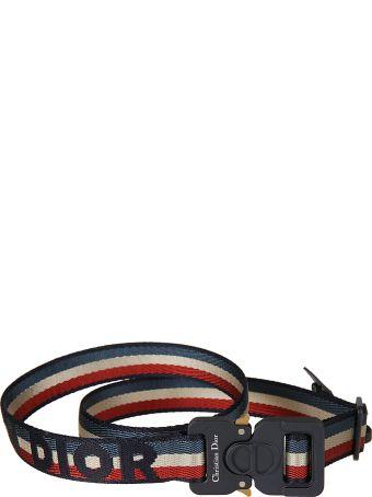 Christian Dior Striped Logo Belt