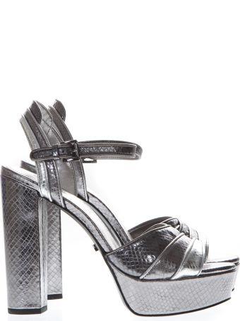 MICHAEL Michael Kors Platform Sandals In Silver Printed Reptile Leather