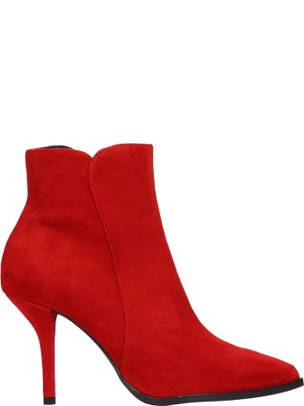 Lola Cruz Red Suede Ankle Boots