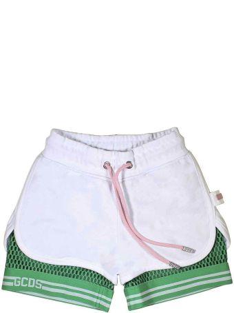 GCDS Mini White Shorts With Green Bermuda