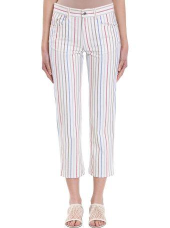 Sonia Rykiel Boyfriend Multi Stripe White Cotton Trousers