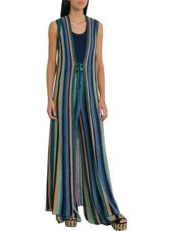 M Missoni Lurex Knit Sleveless Coat With Multicolor Striped Motif
